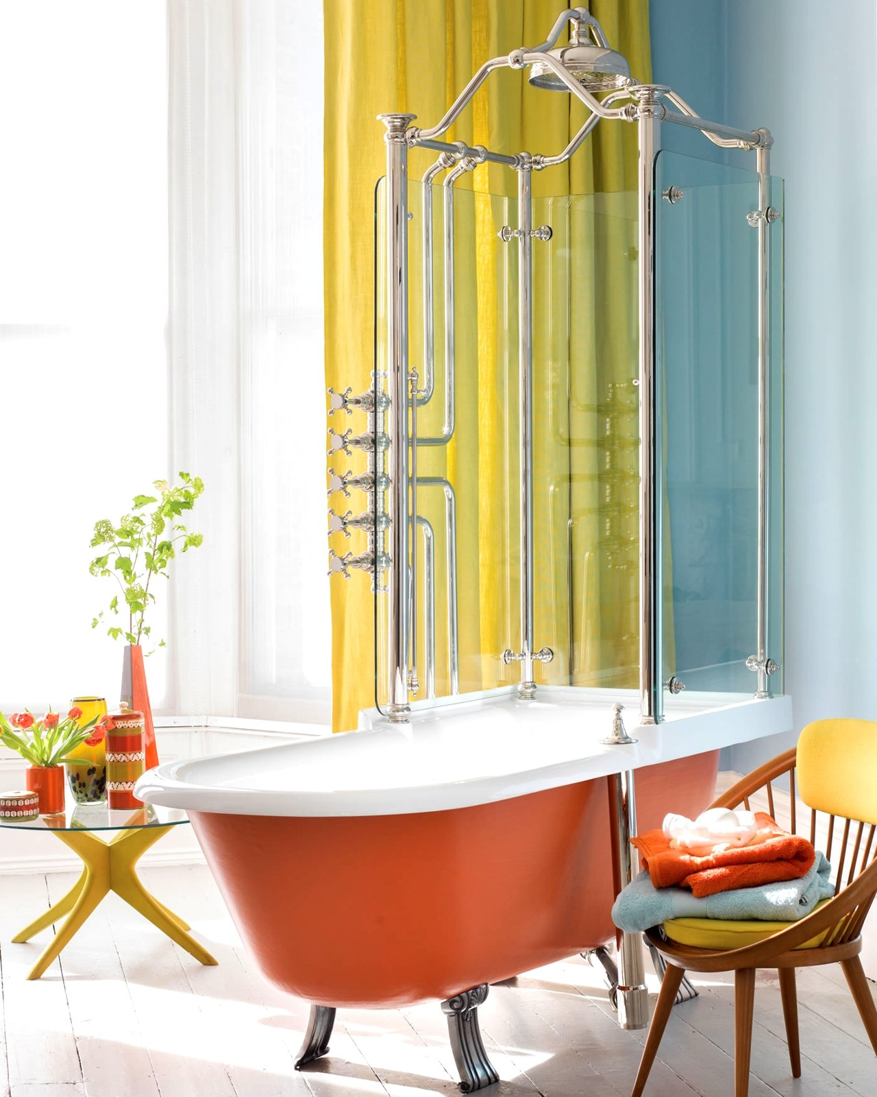 combo shower and bathtub retro