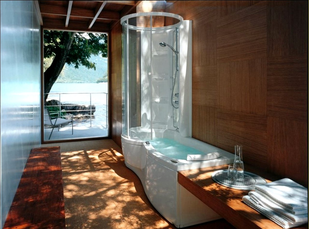 combo bathtub and round shower