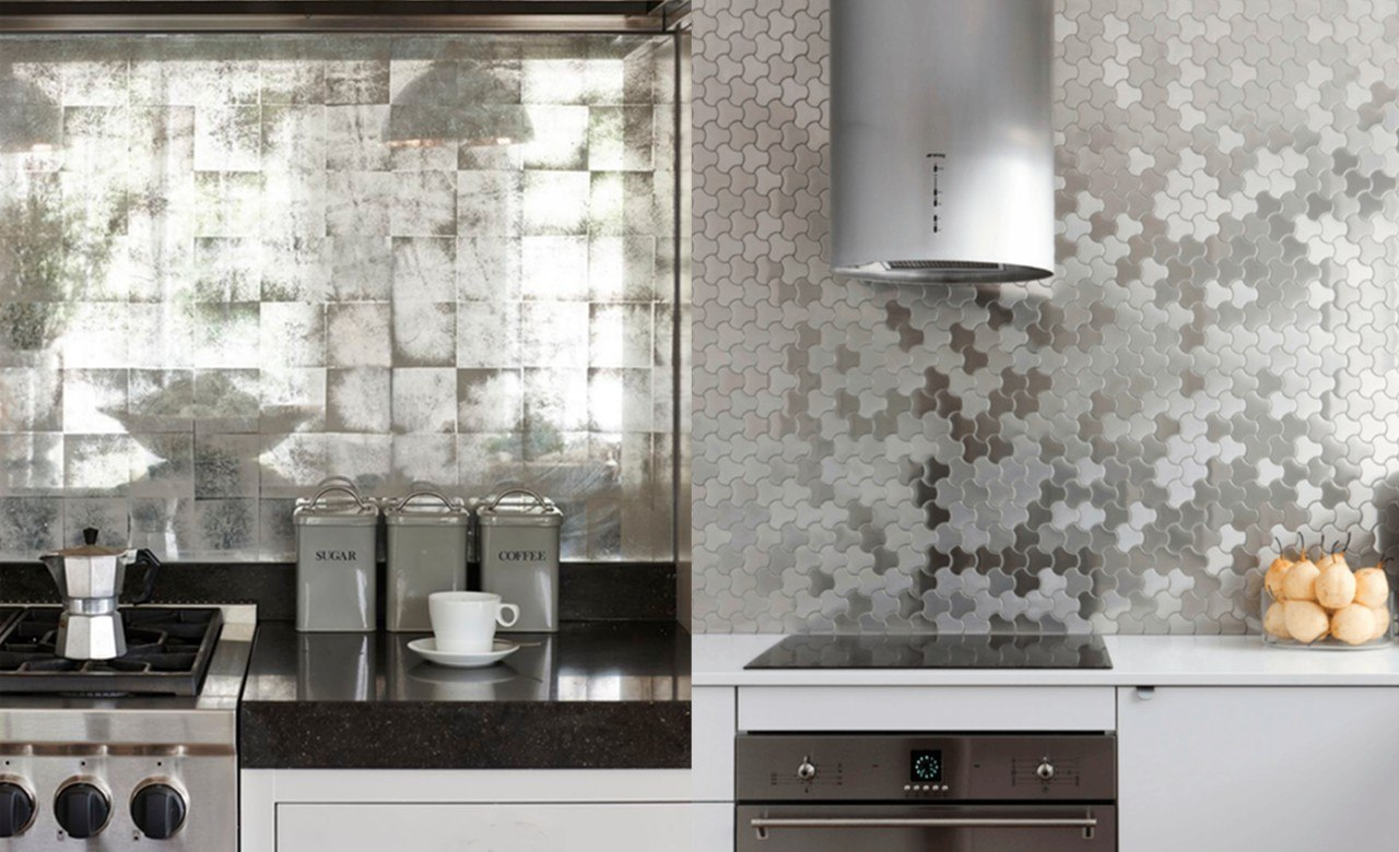 cucine con rivestimenti grigio-argento