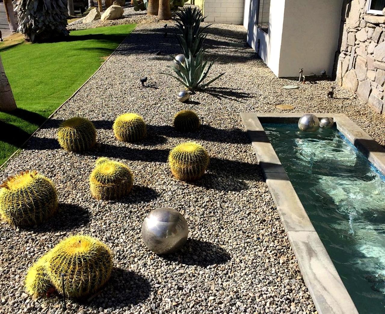 Minimal garden design con rocce e cactus